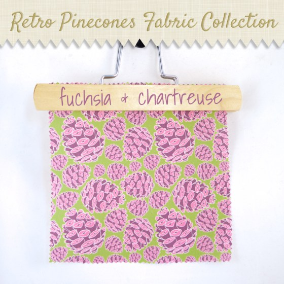fuchsia chartreuse retro pinecones pinecones woodland nature spoonflower wallpaper wrapping paper