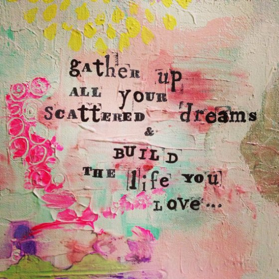 Gather and Build Original Mixed media painting by Catina Jane Gray