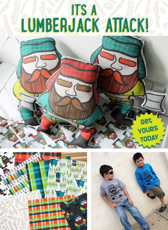 Lumberjack Attack Fabric Plushie Cut and Sew Eco T-shirts