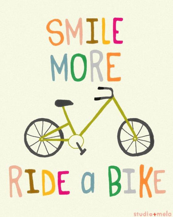 Typography Illustration Print - Children's Wall Art Print - typography art, quote, illustration, bike art - RIDE A BIKE