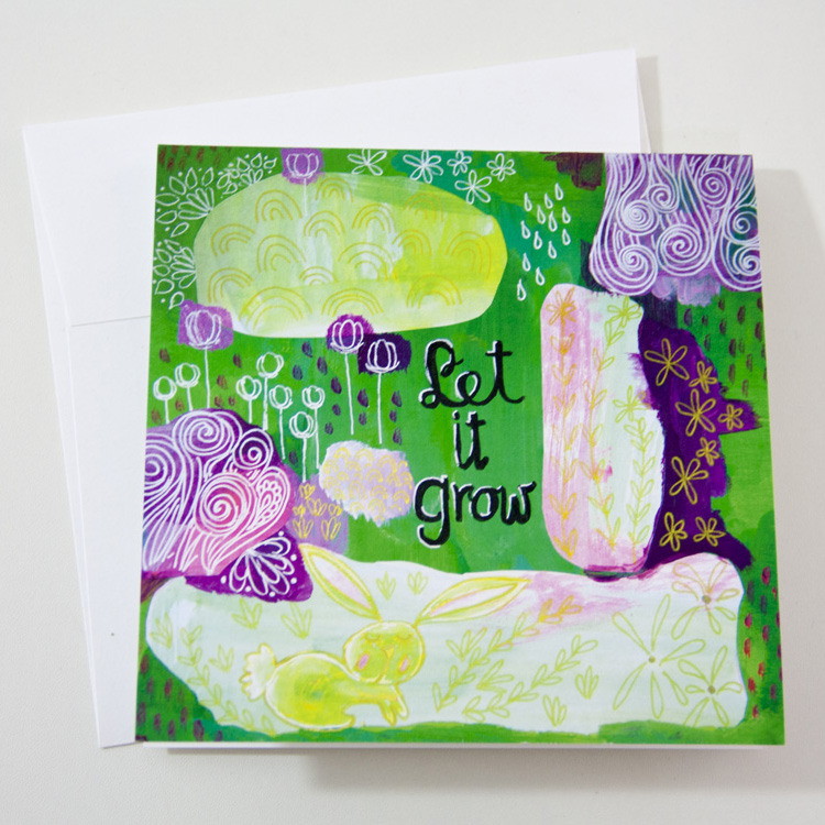 Let It Grow Art Greeting Card by Joyful Roots Unique Motivational Hipster Mixed Media Art
