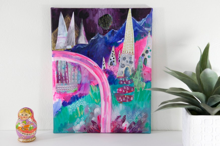 Mystic Mountains Mixed Media Hipster Colorful Inspirational Art