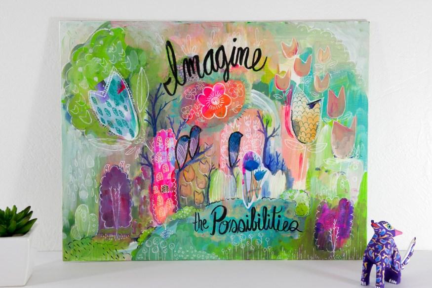 Imagine The Possibilities Colorful Magic Woodland Childrens Room Art Decor