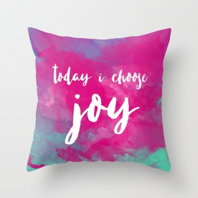Home & Living Home Décor Decorative Pillows Joy Quote Pink Watercolor Throw Pillow Cover Watercolor Pillow Colorful Decor Positive Affirmation Affirmation Pillow Inspirational Home Inspirational Decor Positive Quote Quote Pillow Pink Pillow Watercolor Decor