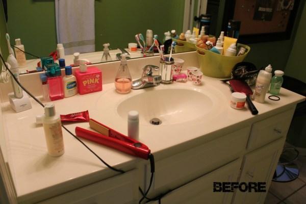 Teenage Bathroom Sink Before photo. Organizing A Teenage Girl  39 s Bathroom