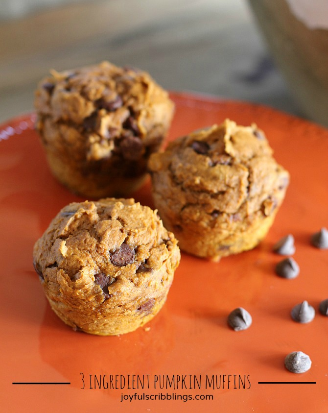 #3 ingredient pumpkin muffins