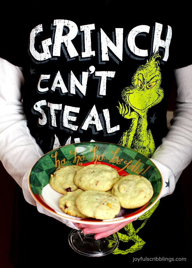 Grinchy Cranberry Pistachio Cookies