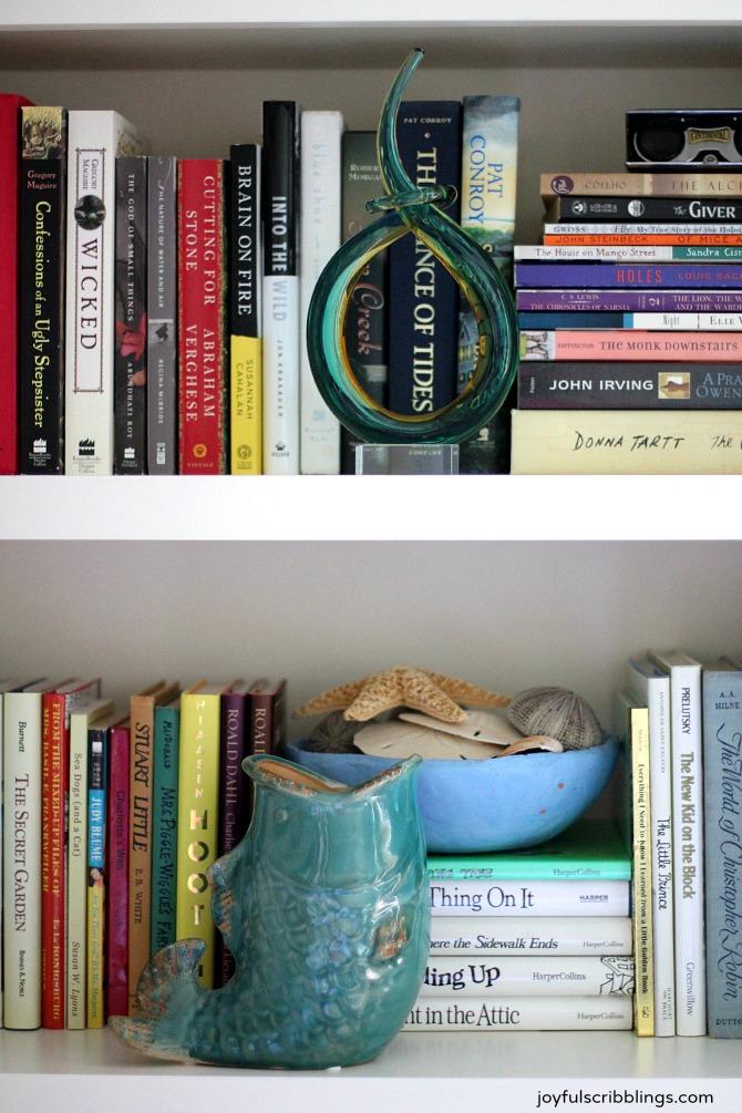 bookshelf closeup