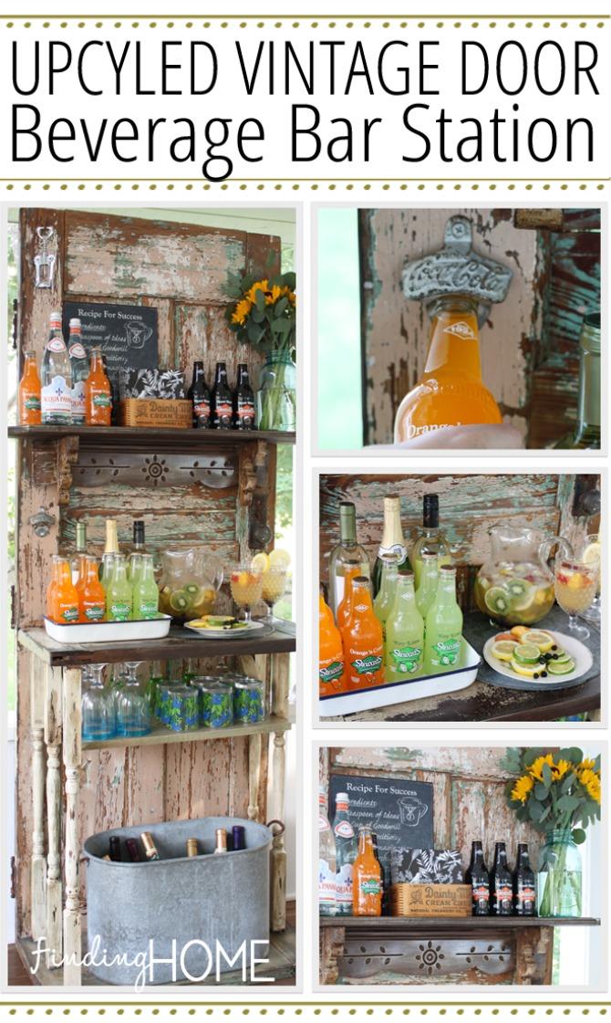 vintage door beverage station