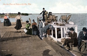Boating was a popular pastime for visitors throughout the Sunshine State as shown here on the pier at Pass-a-Grille.