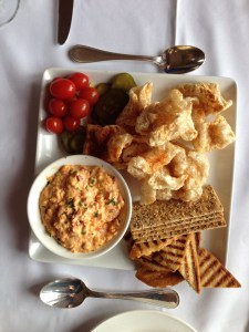 Pimento Cheese and Pork Rinds, also known as Cracklins.