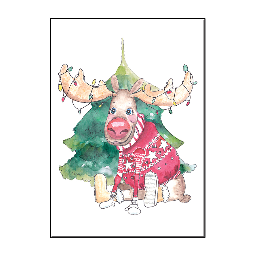 A6 MOOSE CHRISTMAS CARD POSTER MOOSE CHRISTMAS IN FRAME
