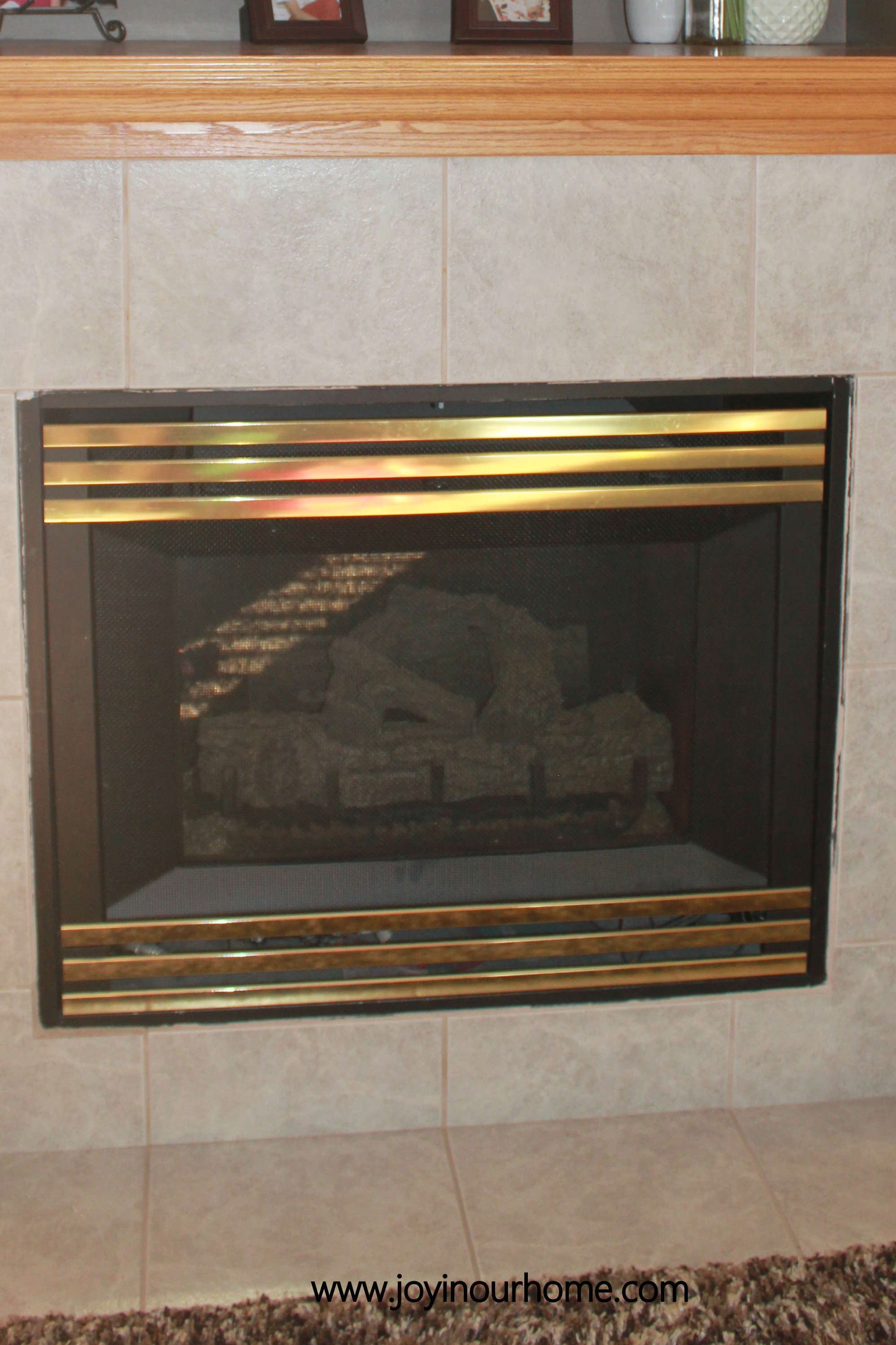 Spray Paint Fireplace Makeover