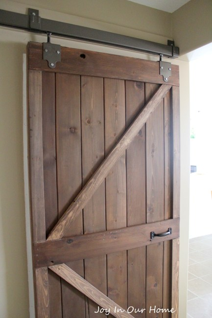 Upcycled Barn Door- Monthly DIY Challenge at www.joyinourhome.com