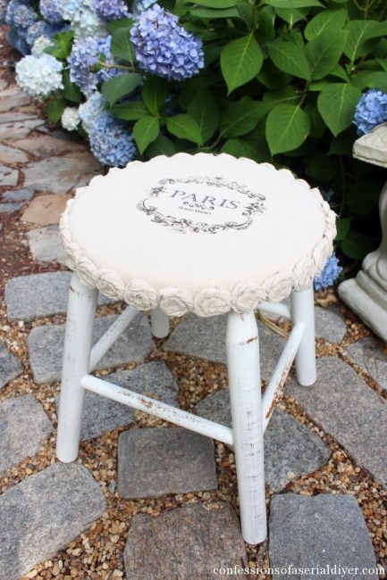 Confessions of a Serial DIYer Mini Drop Cloth Rosette Stool Makeover