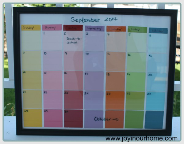 Back to School Erasable Paint Chip Calendar from www.joyinourhome.com