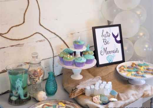 Mermaid tail backdrop party table