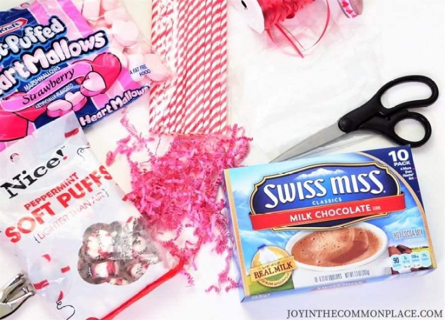Valentine's Day Hot Chocolate Treat Bag Supplies