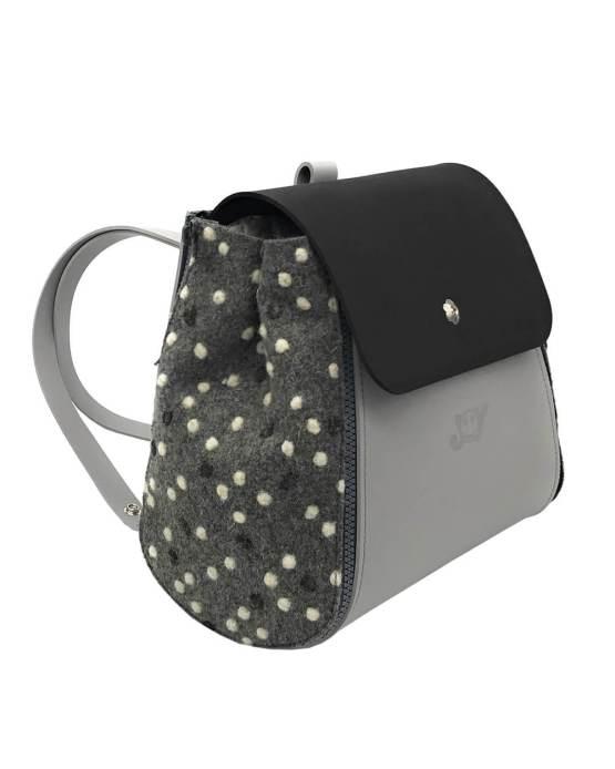 Joy-zaino-componibile-vegan-made-in-italy-roberta-grigio-nero-pois-grigio-material