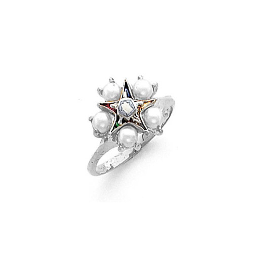 14k White Gold Eastern Star Ring with Pearls HOM502ES