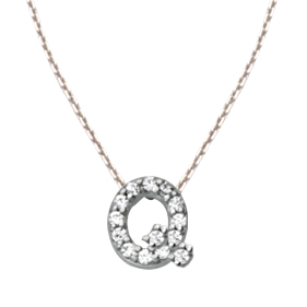 Sterling Silver Cubic Zirconia Mini Block Q Necklace 764320FM