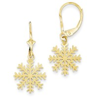 14kt Yellow Gold Snowflake Leverback Earrings LBE-037 ...