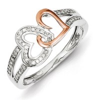 14kt Rose Gold Plated 1/6ct Diamond Heart Promise Ring QR5677