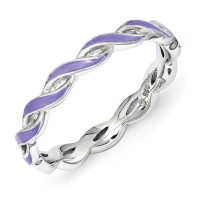 Sterling Silver Stackable Twist Purple Enamel Ring QSK1512