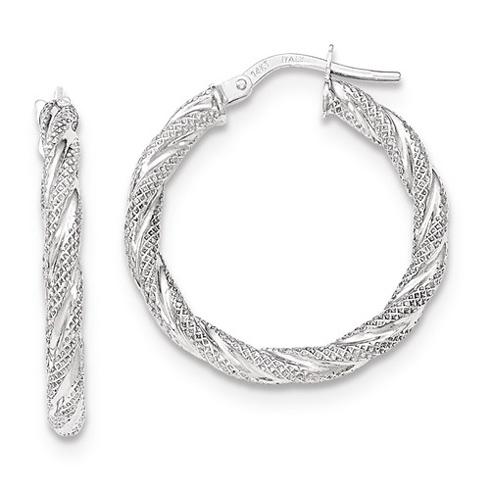 14kt White Gold 1in Italian Twisted Hoop Earrings TH691