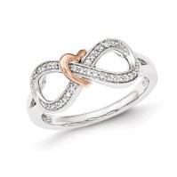 14kt White and Rose Gold 1/2 ct Diamond Infinity Heart ...