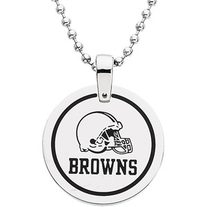 Stainless Steel 1in Cleveland Browns Disc Pendant on 27in