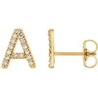 14k Yellow Gold Diamond Initial A Earring JJ86797YA | Joy ...