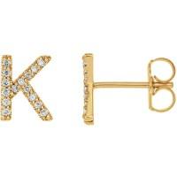 14k Yellow Gold Diamond Initial K Earring JJ86797YK | Joy ...