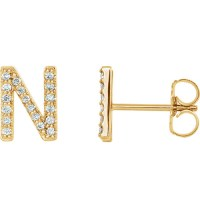 14k Yellow Gold Diamond Initial N Earring JJ86797YN | Joy ...