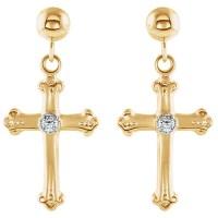 14kt Yellow Gold Diamond Budded Cross Dangle Earrings ...