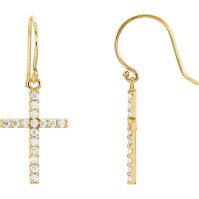 14kt Yellow Gold 1/2 ct tw Diamond Cross Dangle Earrings ...