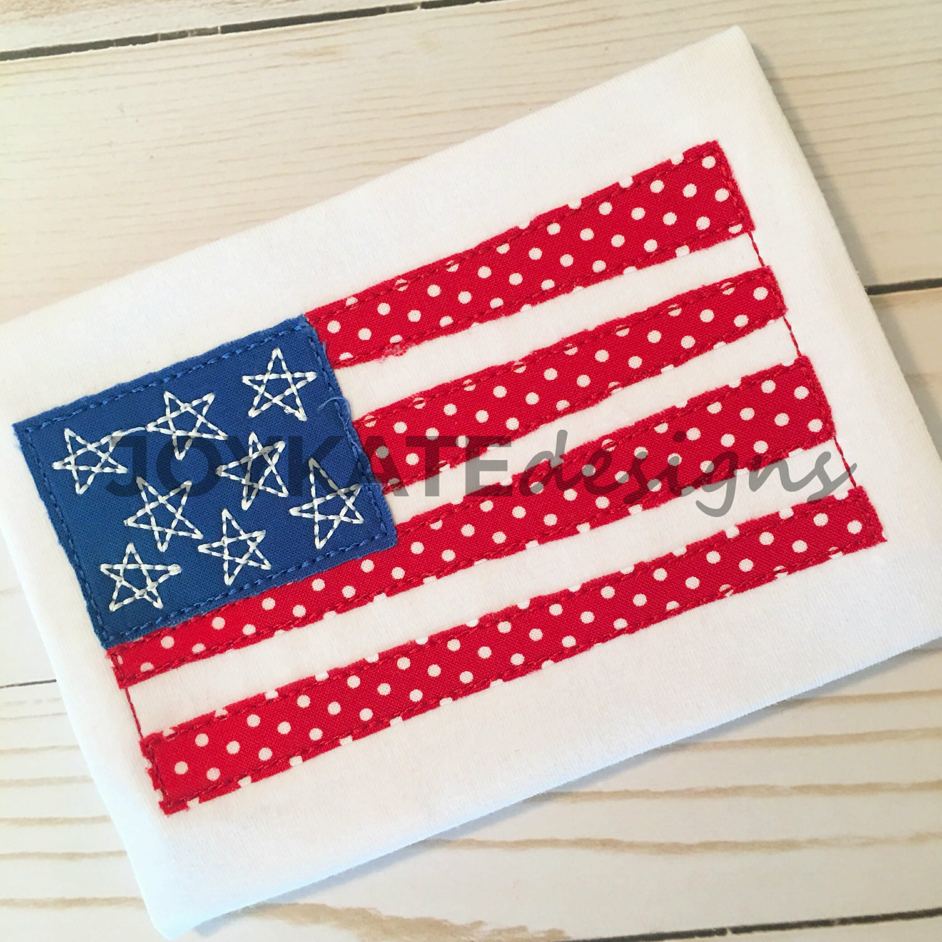 American Flag Bean Stitch Applique Embroidery Design  Joy