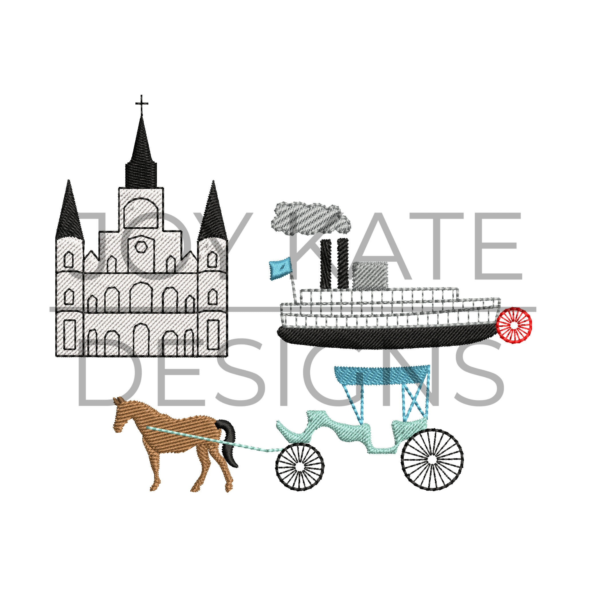 Build Your Own French Quarter Set Embroidery Design
