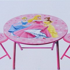 3 Piece Table And Chair Set Blue Cushions Disney Princess Pink Folding By