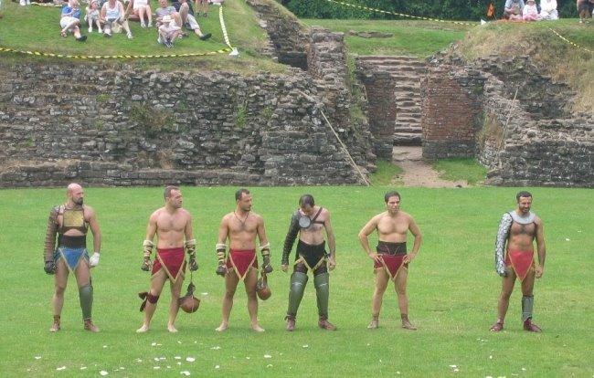 Gladiator Reenactors at Isca Silurum (Caerleon, Wales)