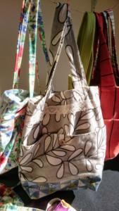 grey canvas flower bag