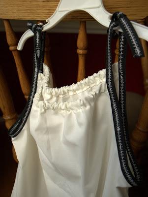 pillowcase dress with black trim