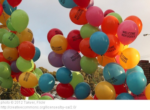 """""""welcome refugee"""" balloons"""