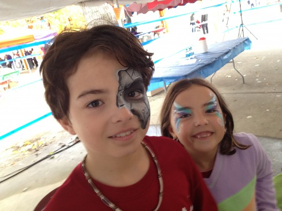 two kids with face paint
