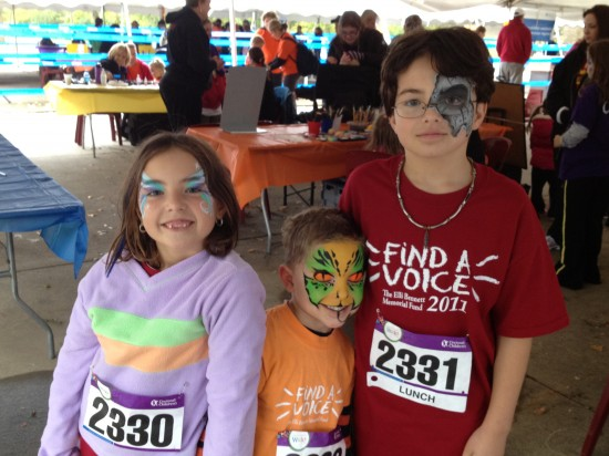 three kids with facepaint