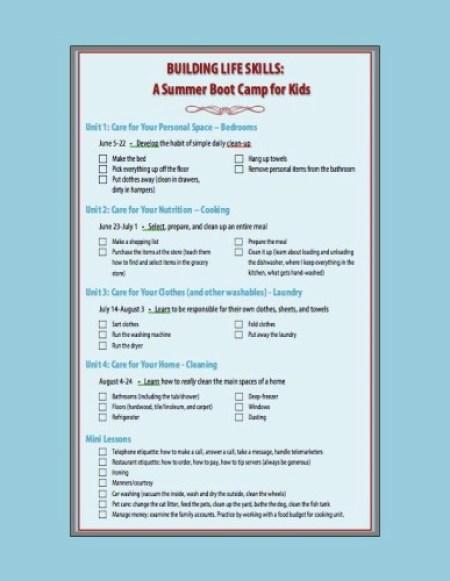 life skills boot camp printable