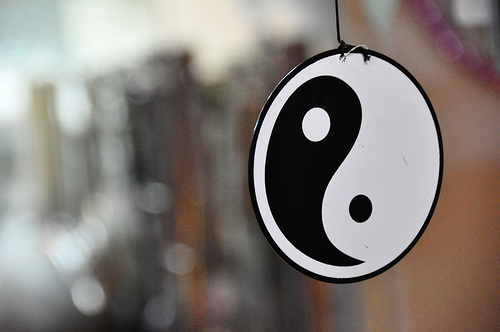 yin and yang symbol in a window