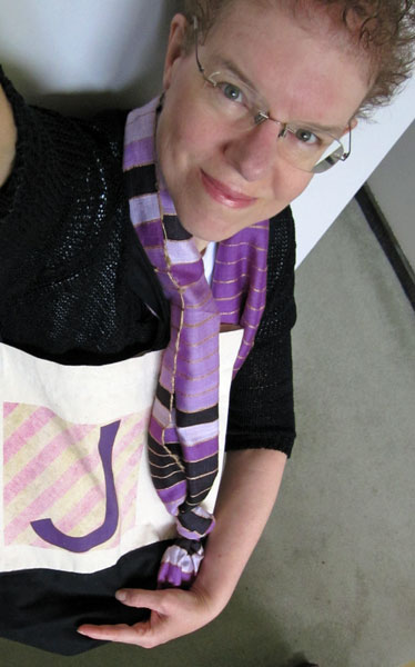 photo of Joy Weese Moll and her gravatar tote bag