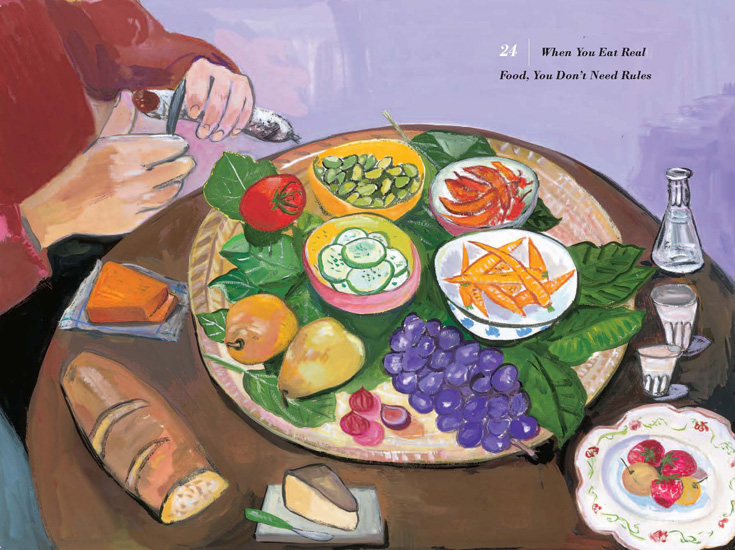"Maira Kalman's illustration of ""When you eat real food, you don't need rules"""