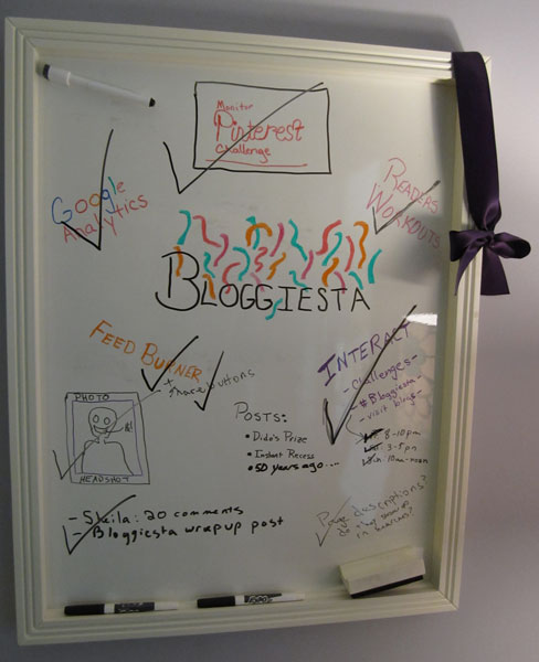 photo of white board with Bloggiesta goals and checkmarks